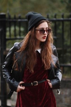 burgundy velvet OhMylove dress - leather Sheinsidecom jacket