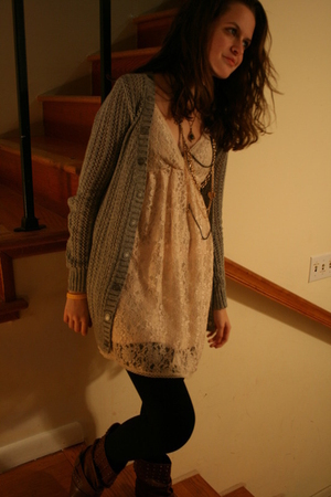 beige Pinky dress - brown Miss Me boots - black tights - gray Rodarte for Target
