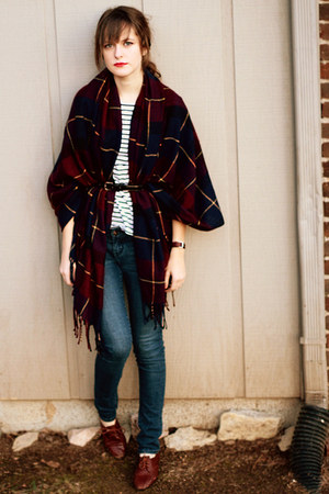 brick red and navy plaid Forever 21 scarf - navy skinny Delias jeans