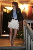 white Forever 21 skirt - beige Kimichi Blue shoes - blue hollister shirt - gray