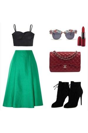 black Accessorize shoes - brick red Chanel bag - Accessorize sunglasses