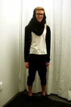 scarf - American Apparel t-shirt - pants