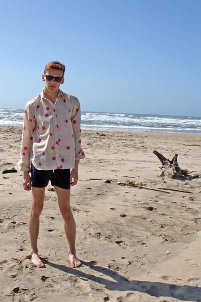 Marc Jacobs shirt - American Apparel swimwear - Raybans accessories