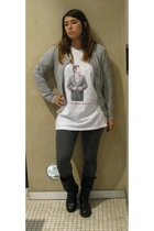 H&M sweater - Ebay t-shirt - H&M leggings - bikkemberg boots