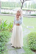 cream skirt - periwinkle shirt - light brown scarf