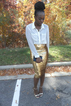 gold asos skirt - ivory sheer blouse H&M blouse