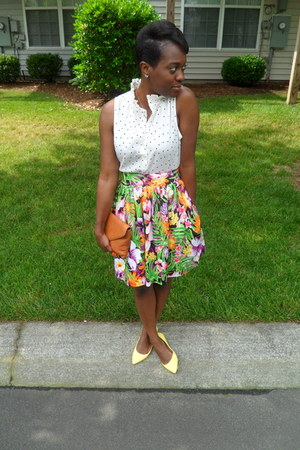 green tropical skirt DIY skirt - white polka dot top J Crew top