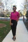 Magenta-express-blouse-black-express-pants