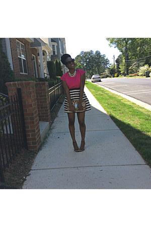 hot pink peplum top Express top - black striped skirt H&M skirt
