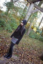 tribal print Topshop skirt - biker boots new look boots
