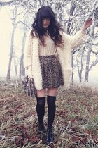 brown Super Lovers skirt - black Sammy dress boots - ivory BangGood sweater