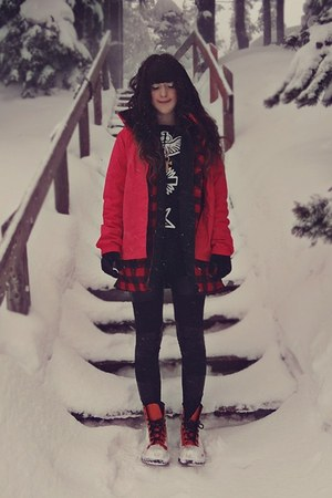 the north face coat - Sheinside sweater - BangGood leggings