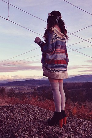 black Jeffrey Campbell boots - crimson romwe skirt - navy indressme cardigan