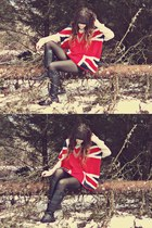 Sheinside sweater - black Charlotte Russe boots - black Forever 21 tights