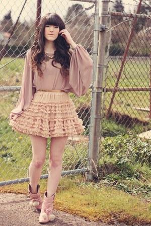 Liz Lisa shoes - romwe accessories - lost april blouse - Chicwish skirt