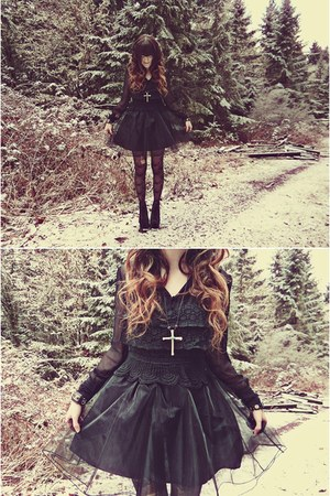 black Jeffrey Campbell boots - black Oh my Frock dress - black Express tights