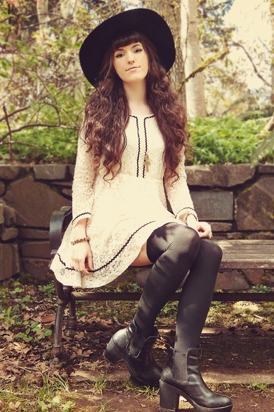 romwe dress - Rose Wholesale boots - BangGood hat - romwe stockings