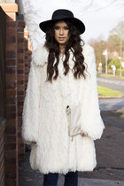 CREAM FAUX FUR COAT SILK LINED #REBEKAH