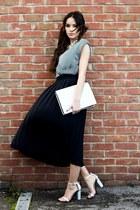 thrifted vintage skirt - FAZANE MALIK dress - Zara bag - Zara heels