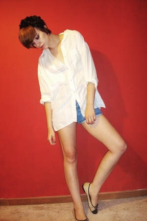 beige flats Ebay shoes - white silk vintage shirt - blue espirit shorts