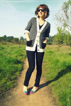 black Urban Outfitters cardigan - black American Apparel t-shirt - black Wet Sea