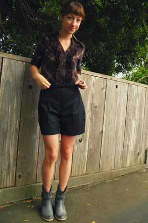 brown rue21 blouse - black WESC shorts - gray Journeys boots
