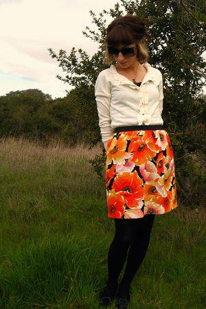 orange self-made skirt - black Vans shoes - white New York &amp; Co cardigan