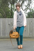 teal Kill City jeans - camel Urban Outfitters bag - light pink Forever 21 cardig