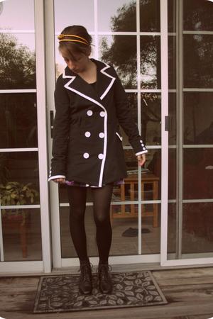 black Macys jacket - black vintage from etsy boots