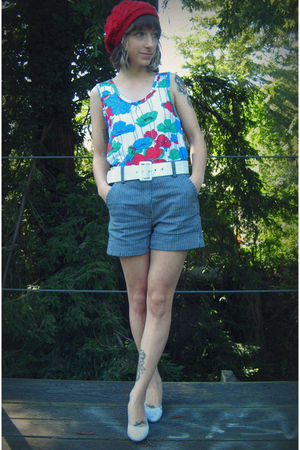 white Self Made top - blue thrifted from Crossroads shorts - white Target shoes 