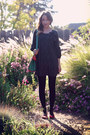 Black-second-hand-dress-black-5-target-tights-green-oasap-bag