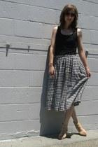 black thrifted skirt - neutral Target wedges - black DIY top