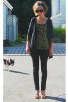 green Cherish top - brown Michael Kors shoes - black tresics sweater