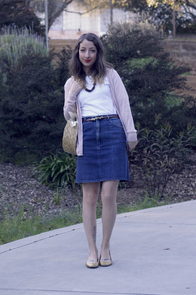 blue vintage skirt - light yellow milanoo bag - camel OASAP belt