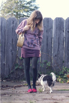 amethyst vintage sweater - black Target tights - light yellow straw Ebay bag