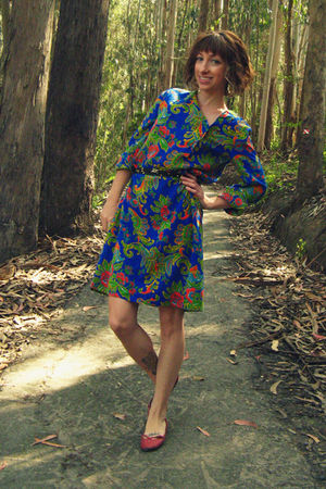 blue thrifted dress - black self-made belt - red Mervyns shoes