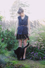 Black-second-hand-dress-black-payless-pumps-black-diy-trench-vest