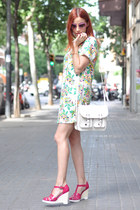 green floral Fashion Pills dress - hot pink Sonia by Sonia Rykiel shoes