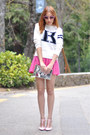 White-college-sammydress-sweater-bubble-gum-miu-miu-sunglasses