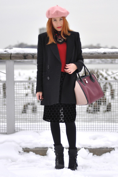 black ASH boots - black Sonia by Sonia Rykiel coat - bubble gum beret H&M hat