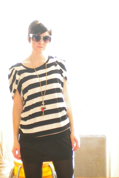 black Michael Kors shirt - Forever 21 dress - necklace