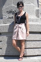 black Farenheit shoes - pink Forever 21 skirt - black cynthia rowley sunglasses