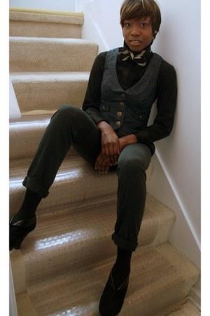 jeans thrifted vest - H&M pants - blue stripe handmade tie