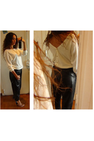 white wool Uniqlo cardigan - black leather pants thrifted vintage pants