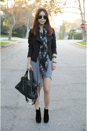Helmut Lang dress - by corpus jacket - Alexander McQueen scarf - balenciaga bag