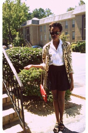 red purse - black Macys skirt - beige blazer - black Max Cole sunglasses