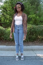 gray striped Urban Outfitters shoes - light blue high waisted Levis jeans