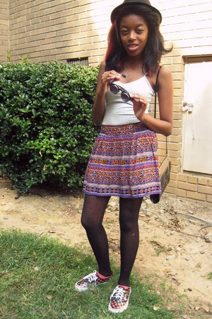 Forever21 skirt - flip-up 80s purple sunglasses - Forever21 top