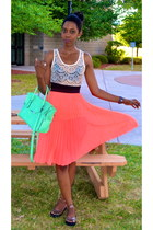 coral chiffon sheer H&M skirt - aquamarine leather bag TJ Maxx bag