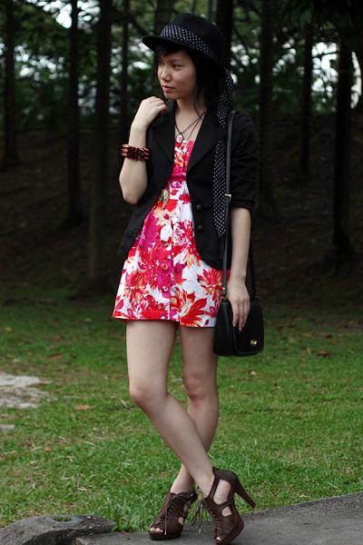 red Forever21 dress - black cotton on blazer - black Forever21 hat - brown mondo